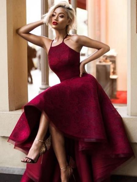A-Line/Princess Sleeveless Jewel Asymmetrical Ruffles Lace Dresses