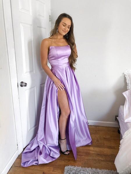 Ball Gown Satin Ruffles Strapless Sleeveless Sweep/Brush Train Dresses