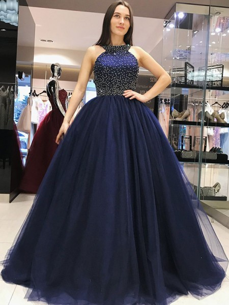 Ball Gown Sleeveless Halter Sweep/Brush Train Beading Tulle Dresses