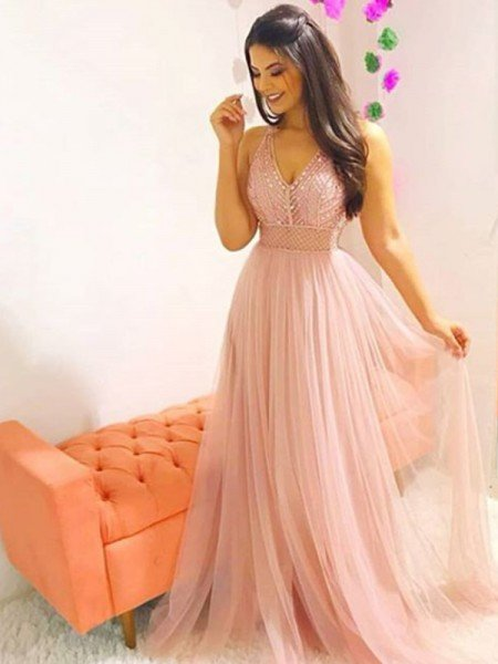 A-Line/Princess Sleeveless V-neck Floor-Length Crystal Tulle Dresses