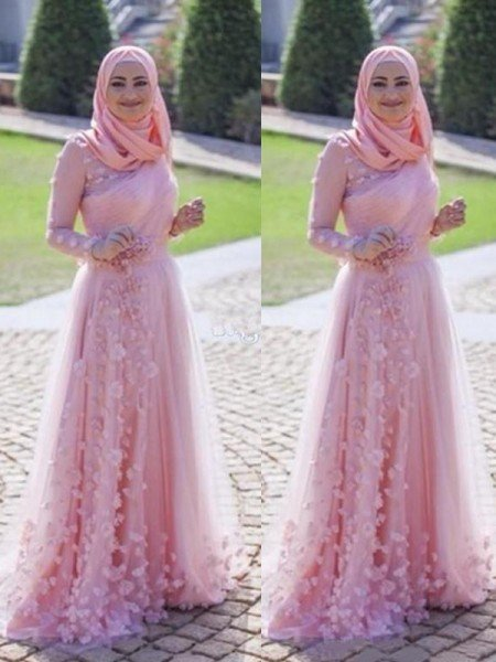 A-Line/Princess Long Sleeves Scoop Sweep/Brush Train Applique Tulle Muslim Dresses