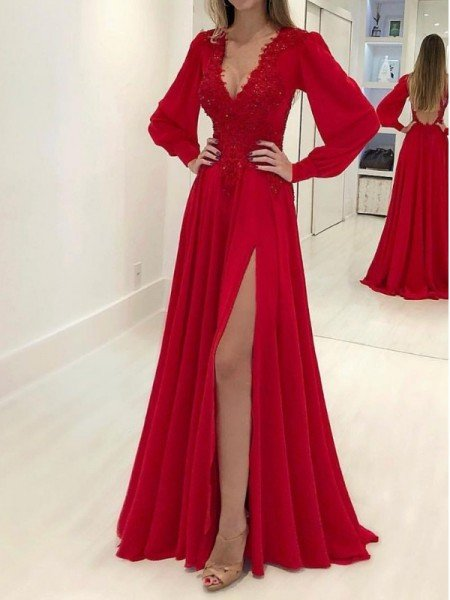 A-Line/Princess Long Sleeves V-neck Sweep/Brush Train Applique Chiffon Dresses