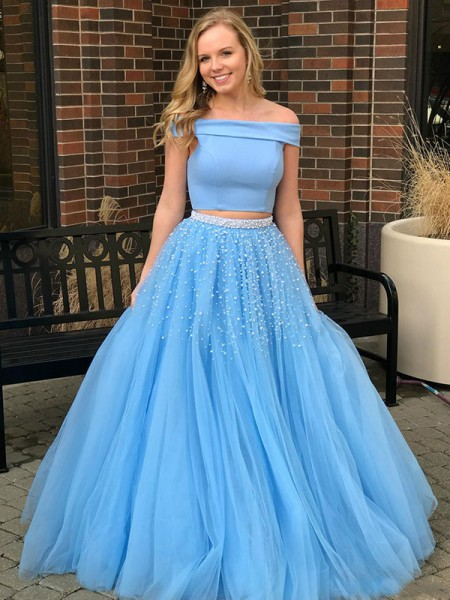 A-Line/Princess Sleeveless Off-the-Shoulder Sweep/Brush Train Beading Tulle Two Piece Dresses