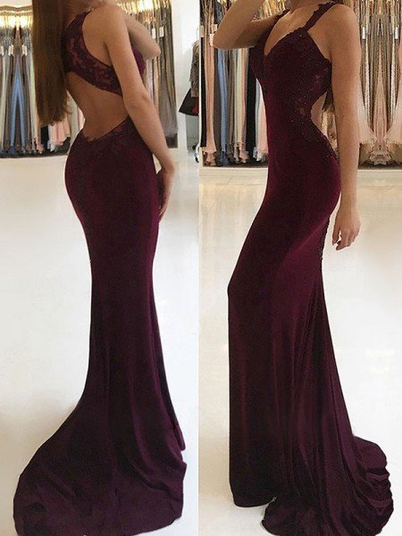 Trumpet/Mermaid Sleeveless V-neck Sweep/Brush Train Applique Stretch Crepe Dresses