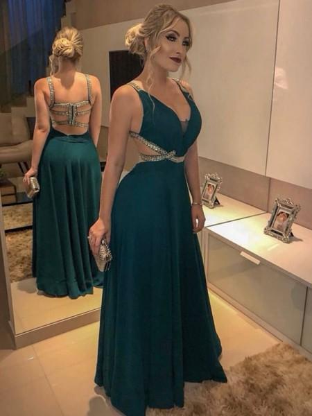 A-Line/Princess Sleeveless V-neck Floor-Length Beading Chiffon Dresses
