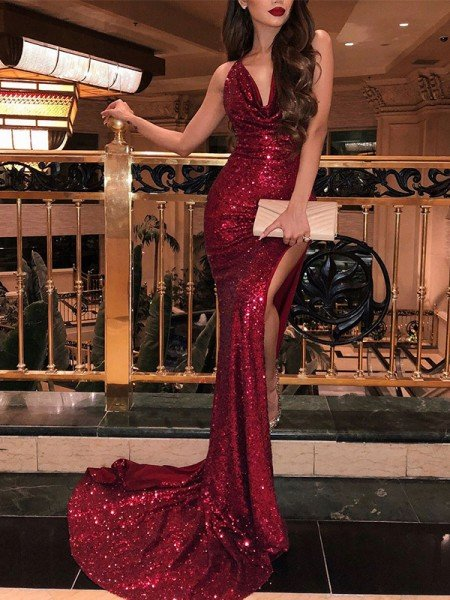 Trumpet/Mermaid Sleeveless V-neck Sweep/Brush Train Ruffles Sequins Dresses