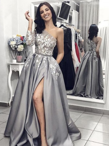 A-Line/Princess Sleeveless One-Shoulder Sweep/Brush Train Applique Satin Dresses