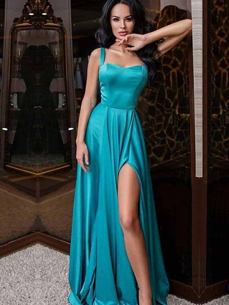 A-Line/Princess Sleeveless Straps Sweep/Brush Train Ruffles Elastic Woven Satin Dresses