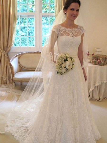 A-Line/Princess Scoop Sleeveless Sweep/Brush Train Lace Tulle Wedding Dresses