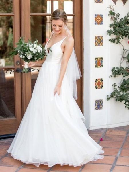 A-Line/Princess V-neck Sleeveless Sweep/Brush Train Ruffles Tulle Wedding Dresses