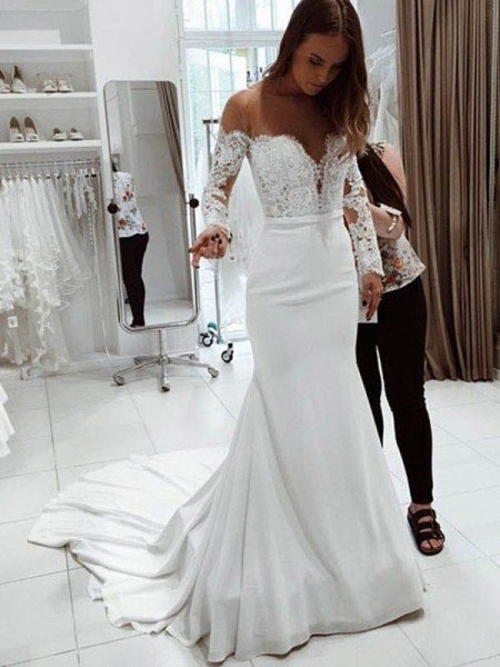 Trumpet/Mermaid Off-the-Shoulder Long Sleeves Court Train Lace Chiffon Wedding Dresses