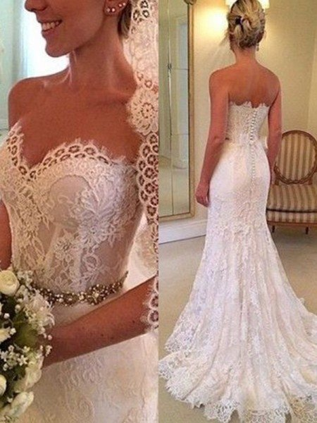 Sheath/Column Sweetheart Sleeveless Sweep/Brush Train Beading Lace Wedding Dresses