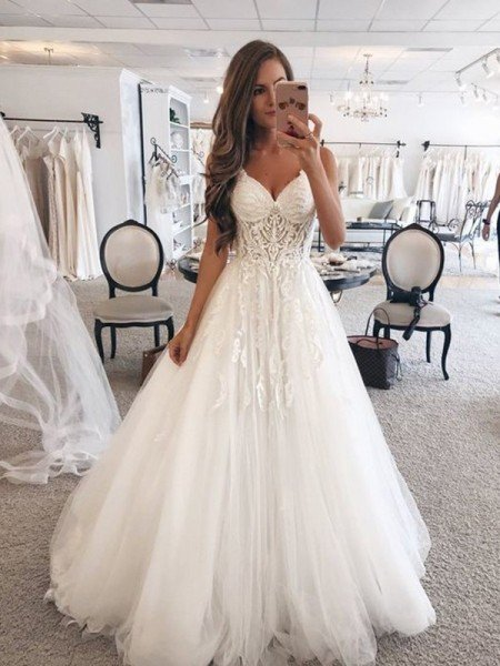 A-Line/Princess Sweetheart Sleeveless Floor-Length Lace Tulle Wedding Dresses