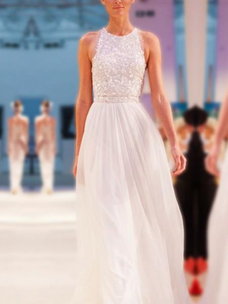 A-Line/Princess Jewel Sleeveless Floor-Length Beading Chiffon Wedding Dresses