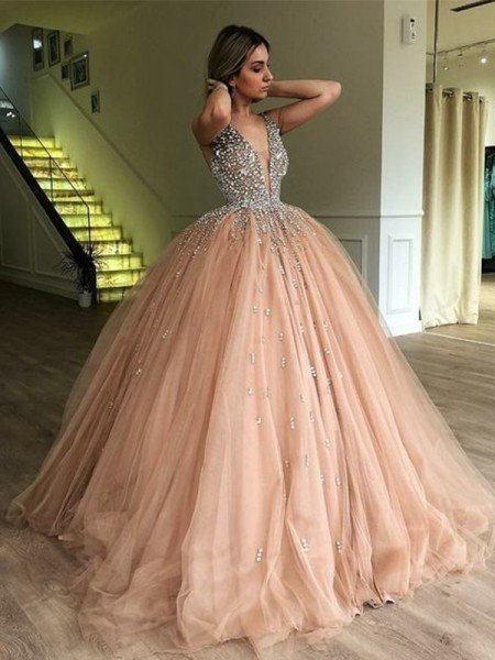 Ball Gown V-neck Sleeveless Sweep/Brush Train Beading Tulle Dresses