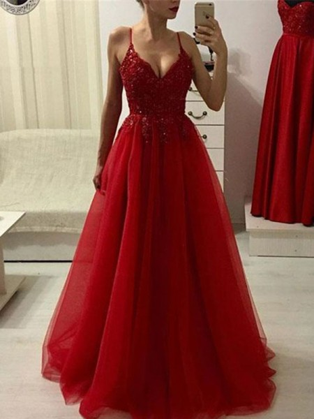 A-Line/Princess Spaghetti Straps Sleeveless Floor-Length Applique Tulle Dresses