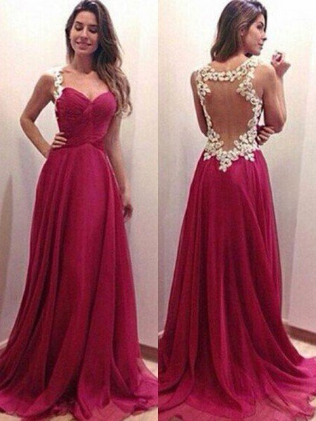A-Line/Princess Sweetheart Sleeveless Sweep/Brush Train Applique Chiffon Dresses