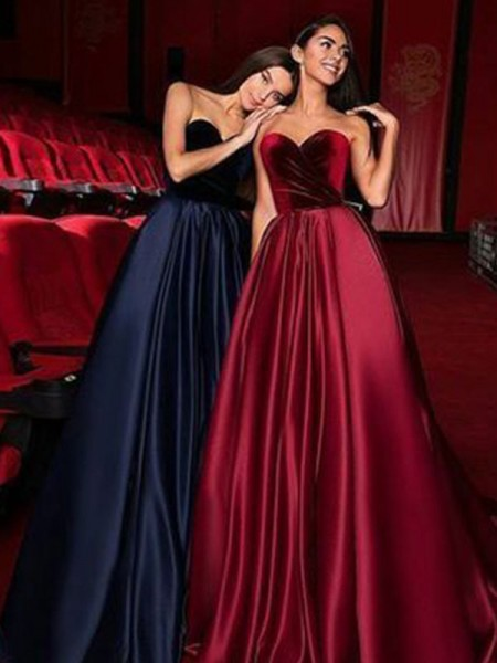 A-Line/Princess Sleeveless Sweetheart Court Train Ruffles Satin Dresses