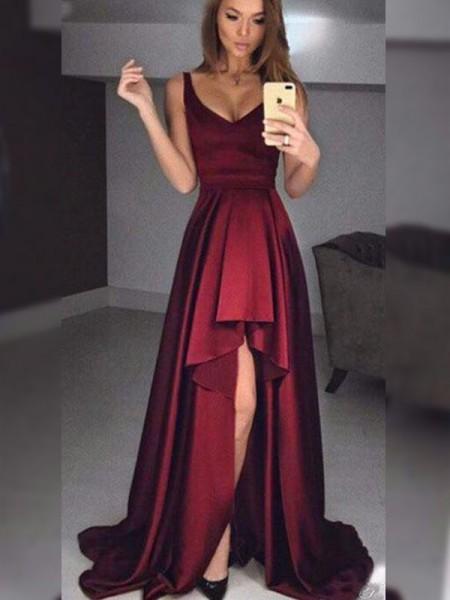 A-Line/Princess Sleeveless Straps Asymmetrical Ruffles Satin Dresses