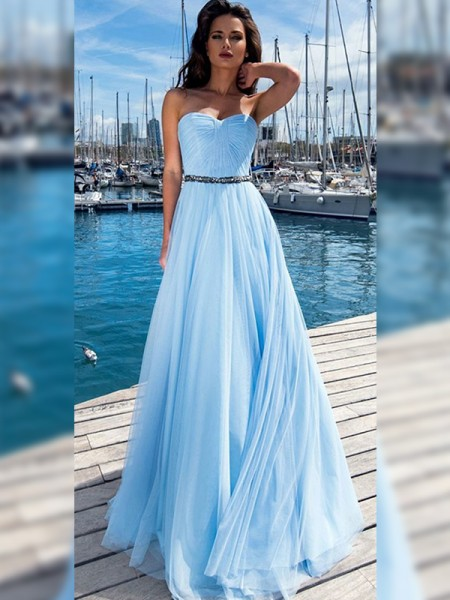 A-Line/Princess Chiffon Ruffles Sweetheart Sleeveless Floor-Length Dresses