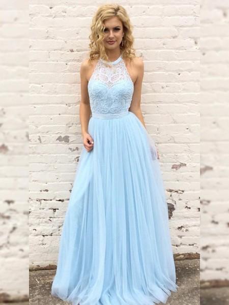 A-Line/Princess Tulle Lace Halter Sleeveless Floor-Length Dresses