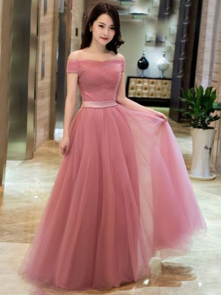 A-Line/Princess Tulle Ruffles Off-the-Shoulder Sleeveless Floor-Length Dresses