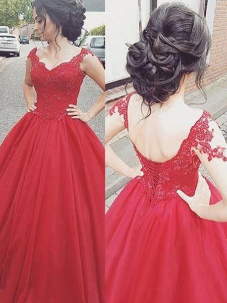 Ball Gown V-neck Sleeveless Floor-Length Applique Satin Dresses