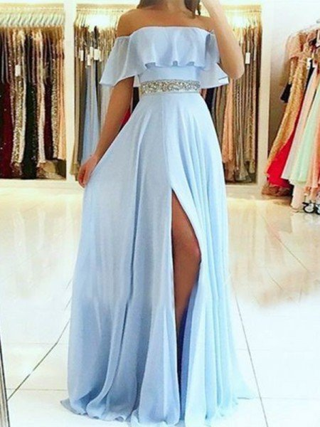 A-Line/Princess Sleeveless Off-the-Shoulder Floor-Length Beading Chiffon Dresses