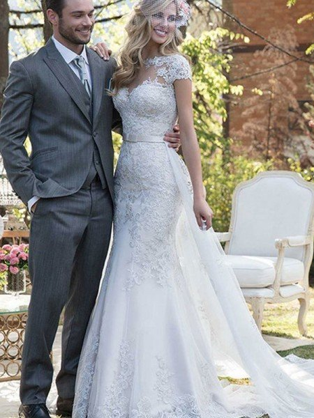 Trumpet/Mermaid Tulle Sash/Ribbon/Belt Bateau Short Sleeves Sweep/Brush Train Wedding Dresses