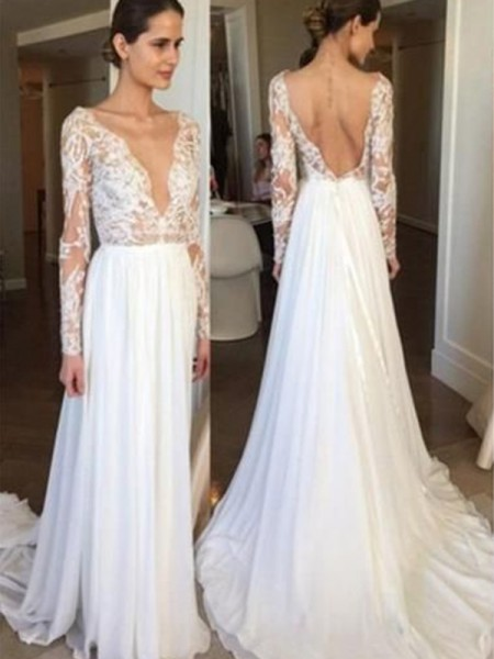 A-Line/Princess Chiffon Lace V-neck Long Sleeves Sweep/Brush Train Wedding Dresses