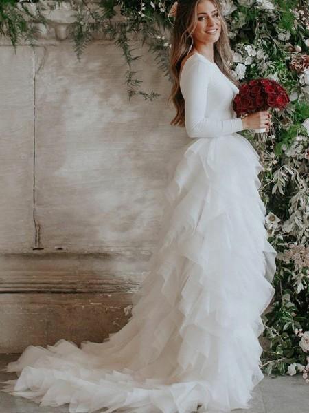 A-Line/Princess Tulle Ruffles Scoop Long Sleeves Sweep/Brush Train Wedding Dresses