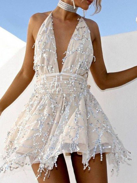 A-Line/Princess Beading Halter Sleeveless Short/Mini Homecoming Dress