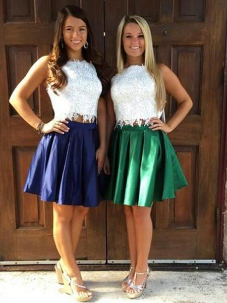 A-Line/Princess Satin Ruffles Sheer Neck Sleeveless Short/Mini Two Piece Homecoming Dress