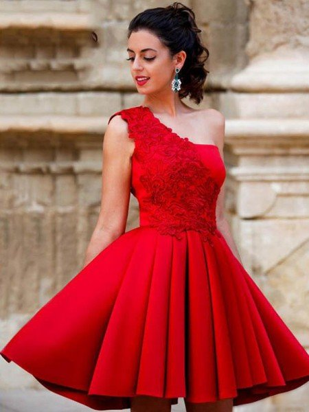 A-Line/Princess Satin Applique One-Shoulder Sleeveless Short/Mini Homecoming Dress