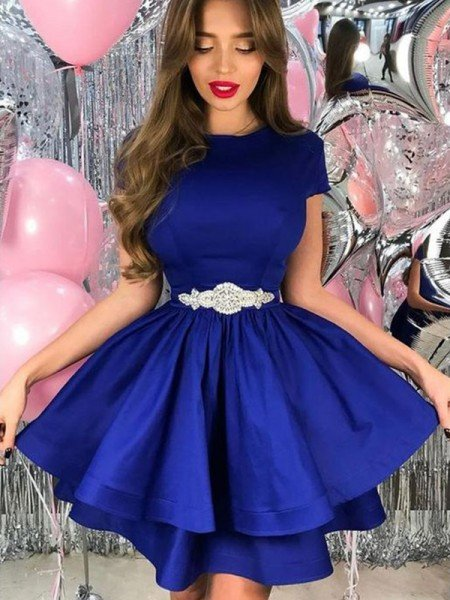 A-Line/Princess Satin Sash/Ribbon/Belt Sheer Neck Short Sleeves Short/Mini Homecoming Dress