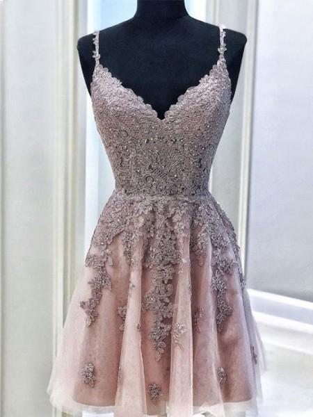A-Line/Princess Tulle Beading Spaghetti Straps Sleeveless Short/Mini Homecoming Dresses
