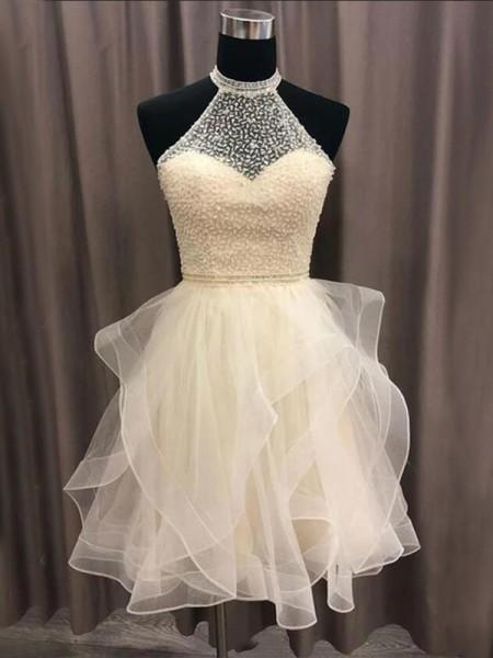 A-Line/Princess Organza Beading Halter Sleeveless Short/Mini Homecoming Dresses