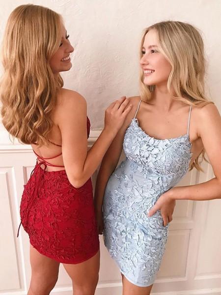 Sheath/Column Lace Applique Spaghetti Straps Sleeveless Short/Mini Homecoming Dresses