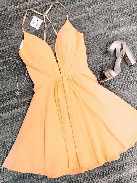 A-Line/Princess Chiffon V-neck Sleeveless Ruffles Short/Mini Homecoming Dresses