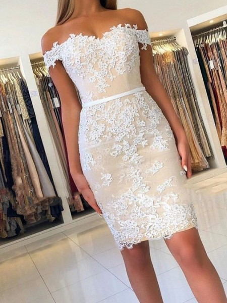 Sheath/Column Lace Off-the-Shoulder Sleeveless Applique Short/Mini Homecoming Dresses
