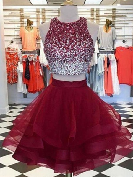 A-Line/Princess Scoop Sleeveless Organza Beading Short/Mini Homecoming Dresses