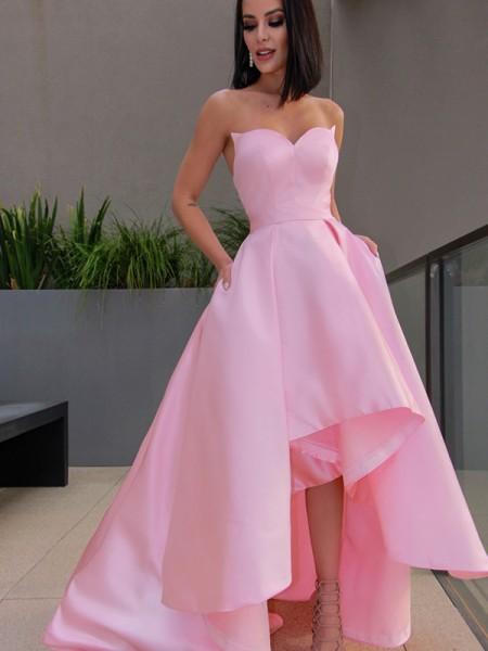 A-Line/Princess Satin Sweetheart Ruffles Sleeveless Asymmetrical Dresses