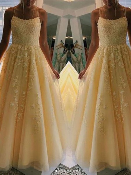 A-Line/Princess Tulle Applique Spaghetti Straps Sleeveless Sweep/Brush Train Dresses