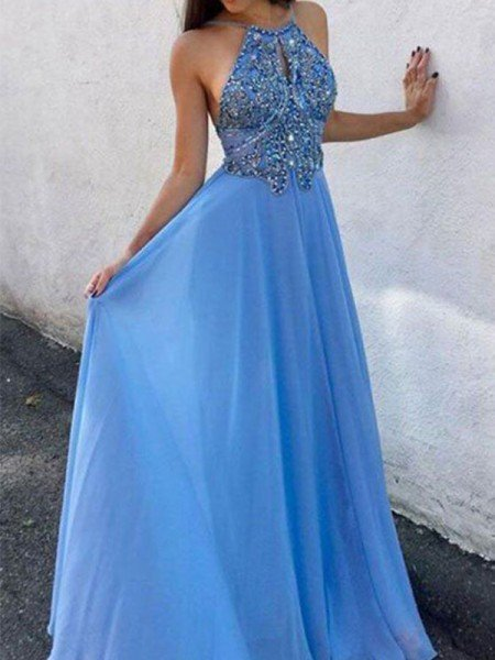 A-Line/Princess Chiffon Beading Halter Sleeveless Floor-Length Dresses