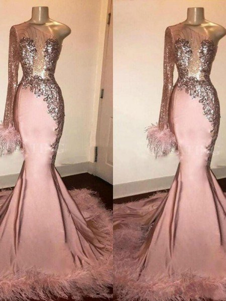 Trumpet/Mermaid Elastic Woven Satin Feathers/Fur One-Shoulder Long Sleeves Sweep/Brush Train Dresses