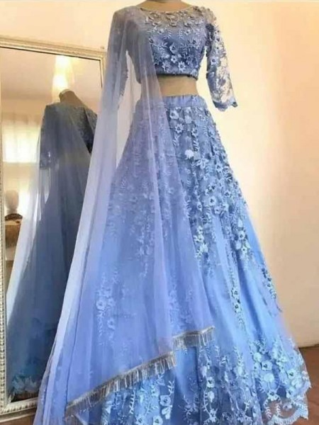 A-Line/Princess Tulle Applique Scoop 3/4 Sleeves Floor-Length Two Piece Dresses