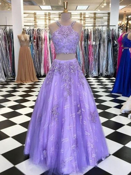 A-Line/Princess Tulle Beading Halter Sleeveless Floor-Length Two Piece Dresses