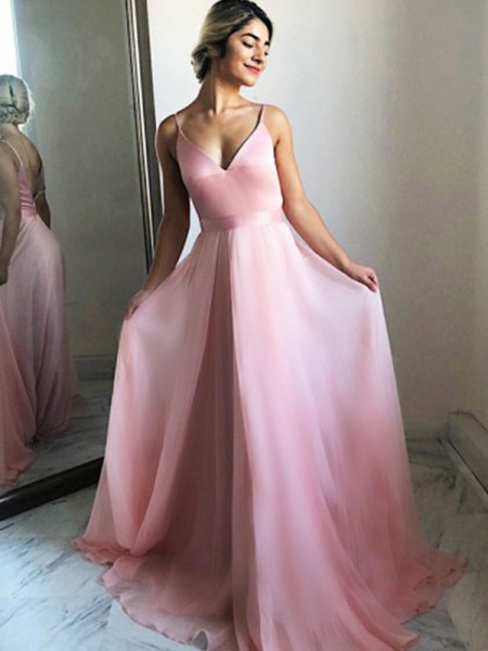 A-Line/Princess Chiffon Ruffles Spaghetti Straps Sleeveless Sweep/Brush Train Dresses