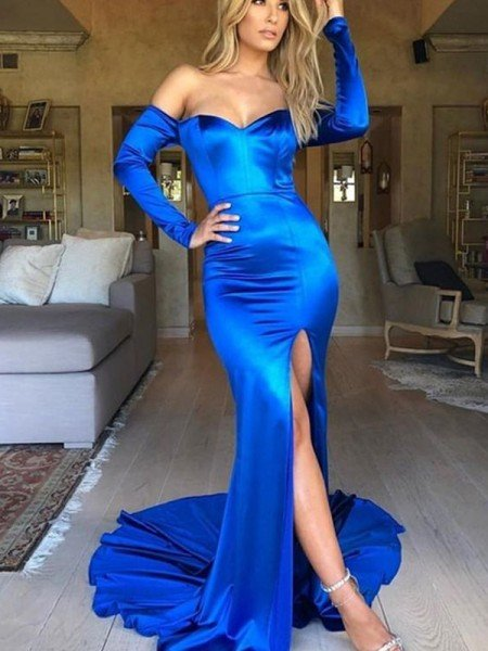 Trumpet/Mermaid Ruched Satin V-neck Long Sleeves Court Train Dresses