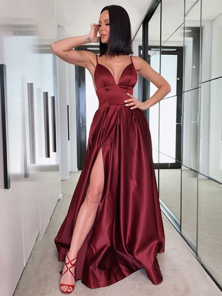 A-Line/Princess Ruffles V-neck Satin Sweep/Brush Train Sleeveless Dresses